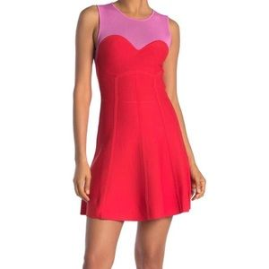 Parker Pink and Red Sheri Knit Dress Size M NWT